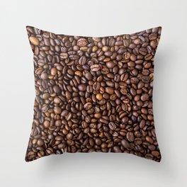 Coffee beans pattern Throw Pillow