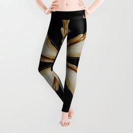 Black, White and Gold Star Leggings