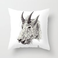 goat Throw Pillows featuring Goat by Ursula Rodgers