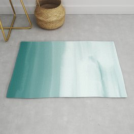 Ocean Sky // Surf Waves Teal Blue Green Water Clouds Watercolor Painting Beach Bathroom Decor Rug