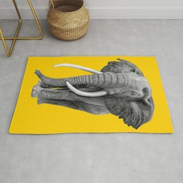 Bull elephant - Drawing In Pencil On Vintage Yellow Rug