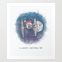 novelty Art Prints featuring A Novelty Christmas TIE by CameronKimJones