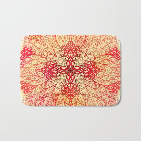 Hand Drawn Floral Mandala 02 Bath Mat