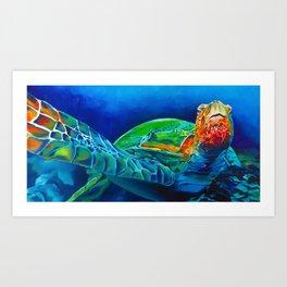 Underwater Sea Turtle Art Print