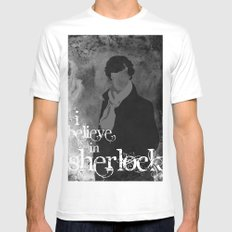 I believe in Sherlock White SMALL Mens Fitted Tee