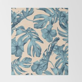 Island Vacay Hibiscus Palm Pale Coral Teal Blue Throw Blanket