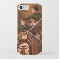 attack on titan iPhone & iPod Cases featuring Haikyuu!! Attack on Titan Crossover: Oikawa and Iwaizumi by JBadgr