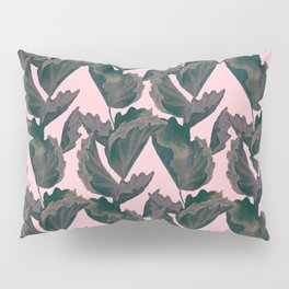 Tropical Archive -  Protea Leaves on Pink Pillow Sham