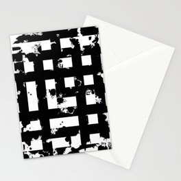 Splatter Hatch - Black and white, abstract hatched pattern Stationery Cards