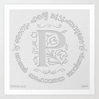 Joshua 24:15 - (Letterpress) Monogram P Art Print