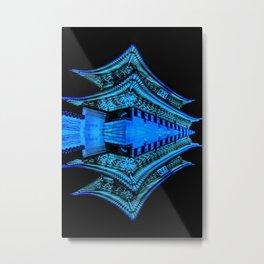 Abstract Blue and Black Art, Gyeongbokgung Palace, Seoul, Korea, Oriental Metal Print