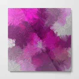 Pink and Purple Mums Abstract Metal Print