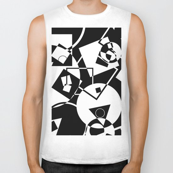 Simply Black And white - Abstract, geometric, retro, black and white random pattern Biker Tank