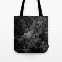 nashville Tote Bags featuring nashville map by Line Line Lines