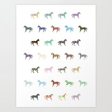 Colorful Horses Lantern Pattern  Art Print