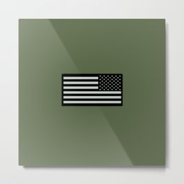 IR U.S. Flag on Military Green Background Metal Print