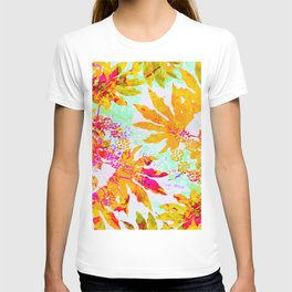 Tropical Adventure - Neon Orange, Pink and Mint T-shirt