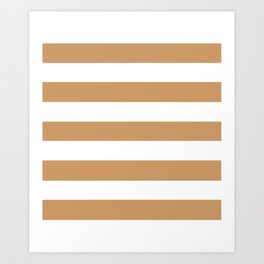 Brown Yellow -  solid color - white stripes pattern Art Print