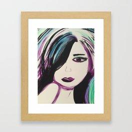 Colorful Girl. Abstract Girl Purple Green.Pop Art by Jodilynpaintings. Figurative Abstract Pop Art. Framed Art Print