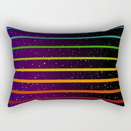 Rainbow stripes on starry blue purple sky Rectangular Pillow