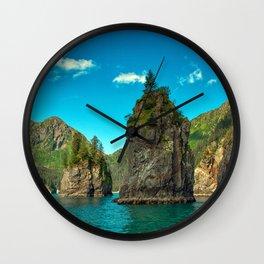 Alaska USA Kenai Fjords National Park Crag Nature Mountains Sky Rivers Rock Cliff mountain river Wall Clock