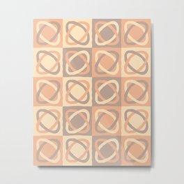 Modern Shapes Pattern (Tints of Bisque) Metal Print