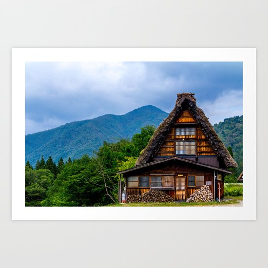 Japanese farm house Art Print