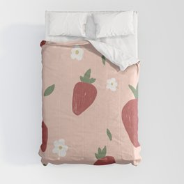 Cute Strawberries and Flowers Nature Print Comforters