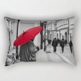 The Red Umbrella cityscape black and white photograph / art photography Rectangular Pillow