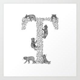 Bearfabet Letter T Art Print