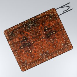 N151 - Orange Oriental Vintage Traditional Moroccan Style Artwork Picnic Blanket