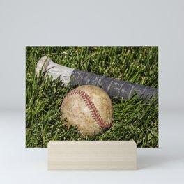 Baseball and Bat on Grass 1 Mini Art Print