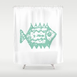 Mint fish Shower Curtain