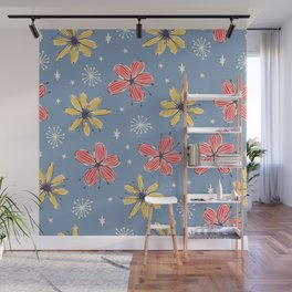 yellow and red flowers on blue Wall Mural