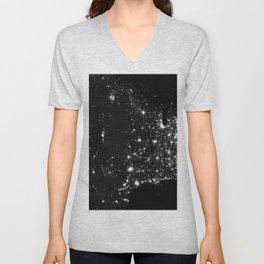 The Lights of the USA (Black and White) Unisex V-Neck