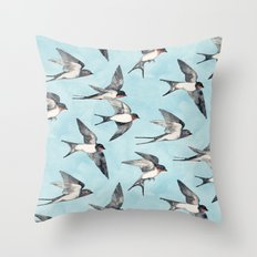 Blue Sky Swallow Flight Throw Pillow