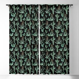Saguaro Cacti and Aloe Succulents Watercolor Pattern Black Blackout Curtain