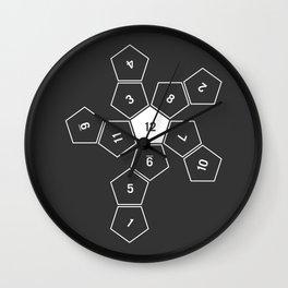 Grey Unrolled D12 Wall Clock