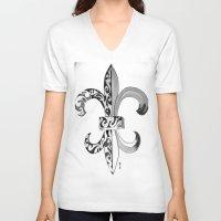 fleur de lis V-neck T-shirts featuring Fleur De Lis - Drawing by neena