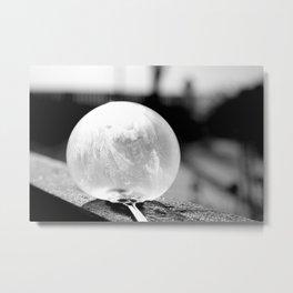 Black and White Frozen Bubble Metal Print