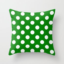 Green (HTML/CSS color) - green - White Polka Dots - Pois Pattern Throw Pillow