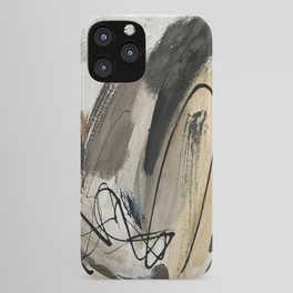 Drift [5]: a neutral abstract mixed media piece in black, white, gray, brown iPhone Case