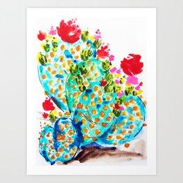 Blue Cactis Art Print