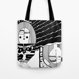 Upside Down Snooze Woman Tote Bag