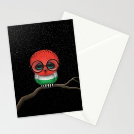 Baby Owl with Glasses and Hungarian Flag Stationery Cards