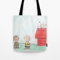 peanuts Tote Bags featuring Peanuts by Smash Art