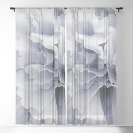 Grey Peony Bloom Sheer Curtain