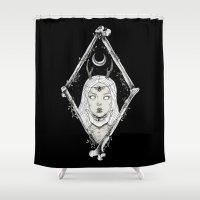 bones Shower Curtains featuring Bones by alesaenzart