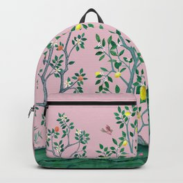 Citrus Grove Chinoiserie Mural in Pink Backpack