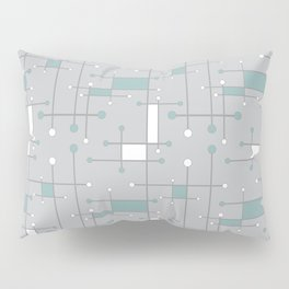 Intersecting Lines in Gray, Sea Foam and White Pillow Sham